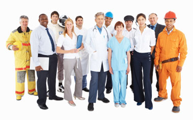 image of a group of workers from various professions